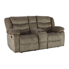 Ridgecrest Loveseat, Manual Motion With Console, Tan