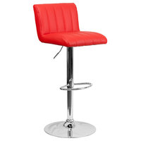Contemporary Vinyl Adjustable Height Bar Stool With Chrome Base, Red