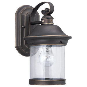 Sea Gull Hermitage One Light Outdoor Wall Lantern, Antique Bronze