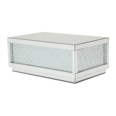 AICO Montreal Rect Silver Mirrored Cocktail Table With Crystals
