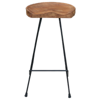 Teak Wood and Iron Barstool with Curved Comfort Seat