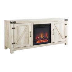 Barn Door Fireplace TV Unit, White Oak