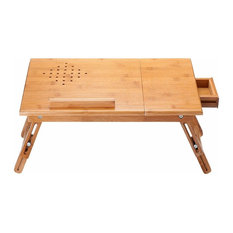 Contemporary Folding Laptop Stand, Natural Bamboo Wood With Small Drawers