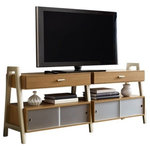 American Traditions - Aleska 2-Drawer Entertainment Center Caramel - Our Aleska 2 Drawer Entertainment Center is inspired by modern Scandinavian design. The clean straight lines and Caramel finish with metallic hardware/accents provides a trendy yet calming atmosphere. You can pair this Entertainment Center with our other Aleska coordinating pieces to complete your own unique dining room design.