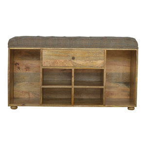 Shoe Cabinet With Drawer and Seat, Oak Finish Mango Wood