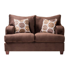 Emma Transitional Loveseat In Chocolate