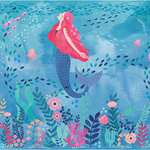 WallPops - Mermaid Magic Peel & Stick Mural - Bring the enchantment of the sea to your room with this Mermaid Magic peel and stick mural. Its watercolor design and pastel hues add a fascinating touch to this underwater scene. Mermaid Magic Peel & Stick Mural contains 6 pieces on 6 sheets that measure 94 x 19.7 inches. Pink haired mermaid with sea life and fish friends wall mural; Measures 9-ft 10-in by 7-ft 10-in when assembled; Comes in 6 sheets; Peel and stick to apply, pull up to remove; Safe for walls, leaves no sticky residue behind; Sticks to any smooth, flat surface.