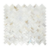 Mother of Pearl Oyster White Natural Sea Shell Seamless Herringbone Tile