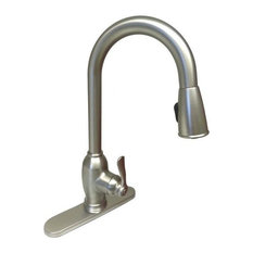Banner Dual Setting Pull Down Spray Kitchen Faucet, Brushed Nickel