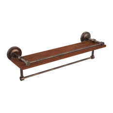 """Prestige Regal Collection 22"""" IPE Ironwood Shelf With Gallery Rail and Towel Bar"""