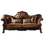 ACME - Acme Versailles Sofa in Golden Brown Velvet & Cherry Oak 52095 - Versailles Collection by ACME Furniture