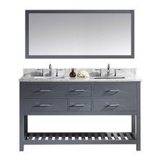 60-inch Double Bath Vanity In GreyMarble TopSquare SinkFaucetMirror