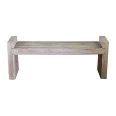Haussmann Farmed Teak Wood Block Bench 48W X 12D X 16 In H Seat Livos Agate Grey