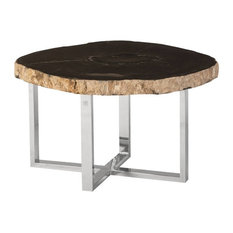 28-inch Wide Coffee Table Rustic Petrified Wood Modern Stainless Steel Base Brown