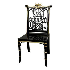Oriental Furniture - Black Lacquer Pagoda Chair - Armchairs and Accent Chairs