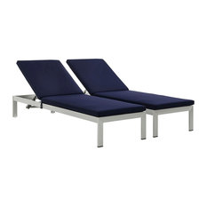 Shore Chaise With Cushions Outdoor Aluminum, Set of 2, Silver/Navy