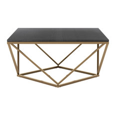 """34"""" Square Black Marble Top Mid-Century Modern Coffee Table Iron Base"""