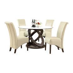 Monarch Specialties   Monarch Specialties 1749 1777TP 5 Piece Round Dining  Room Set In
