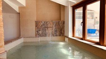 Revestimiento de Piedra de 2 mm en piscina interior