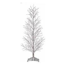 Northlight Seasonal - Pre-Lit Battery Operated Fiber Optic Christmas Twig  Tree, Silver,