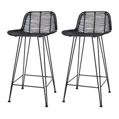 Rattan Bali Bar Stools, Black, Set of 2