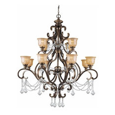 Crystorama Norwalk, Twelve Light Chandelier, Clear Swarovski Spectra Crystal