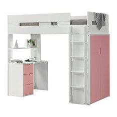 ACME Nerice Loft Bed, White and Pink
