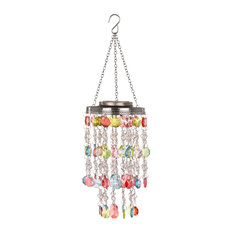 """18.75"""" Solar Lighted Hanging Chandelier With Acrylic Multicolored Jewel Beads"""