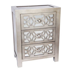 "25.75"" Mini Glam Slam Mirrored 3-Drawer Cabinet, Pewter"