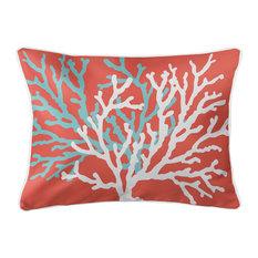 Coral Duo On Coral Lumbar Pillow