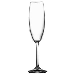 Plain Lead Crystal Champagne Glasses, Set of 6