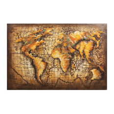 """Globe"" World Map Mixed Media Iron Hand Painted Dimensional Wall Decor 48""x32"""