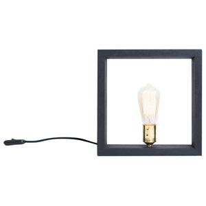 Nuuk Spruce Wood Table Lamp, Straight Tubular Bulb, Black