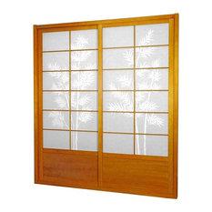 Oriental Furniture   7u0027 Tall Bamboo Tree Shoji Sliding Door Kit, Honey    Interior