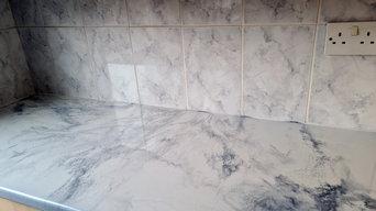 White carrera marble kitchen worktop design