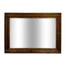 "Herringbone Stained Vanity Mirror, Dark Walnut, 42""x30"", Horizontal"