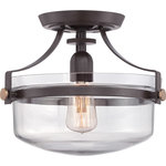Quoizel - Quoizel Uptown Penn Station 1-Light Semi-Flush Ceiling Fixture, Western Bronze - Specifications: