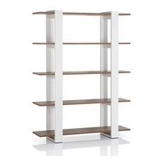 Furniture of America Haven 5-Shelf Modern Bookcase, White