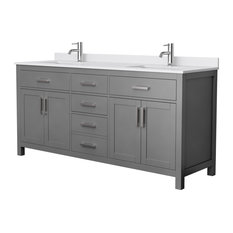 """Beckett 72"""" Dark Gray Double Vanity, White Cultured Marble Top, Square Sinks"""
