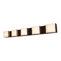 "Nitro 2, 62295, 5-Light Vanity, Bronze/Opal Glass, 48.75""x3.75""x3.75"", Halogen"
