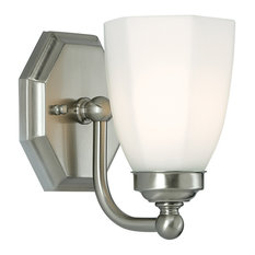 Trevi 1-Light Sconce, Brush Nickel With Hexagonal Opal