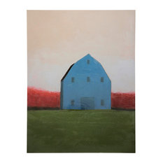 White Farm House Art, Canvas Print with Handpainting