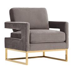 Modrest Edna Modern Gray Velvet And Gold Accent Chair