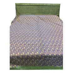 Mogul Interior - Indian Bedspread Brocade Silk Bedding King Bedcover, Blue - Blankets