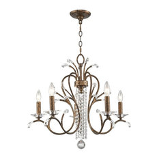 Serafina 5-Light Chandelier, Venetian Golden Bronze Clear Crysta