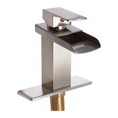 Modern Waterfall Bathroom Faucet With Solid Brass Construction, Single Handle