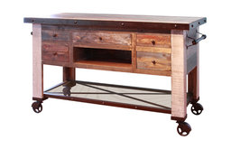 Madeline Antique-Style Multicolor Kitchen Island