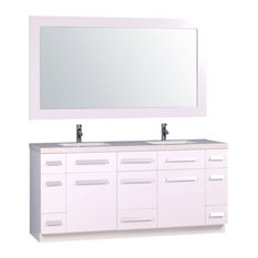 "Moscony 72"" Double Sink Vanity Set, White and Matching Mirror, White"
