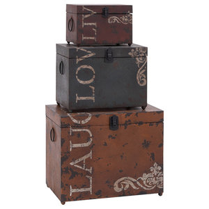 2 Piece Port Of Call Decorative Stacked Luggage Set Traditional