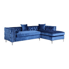 Da Vinci Velvet Button Tufted Right Facing Sectional Sofa  sc 1 st  Houzz : velvet tufted sectional - Sectionals, Sofas & Couches
